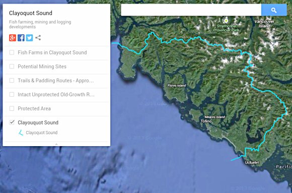 Clayoquot Sound watershed -- click to open interactive Google map