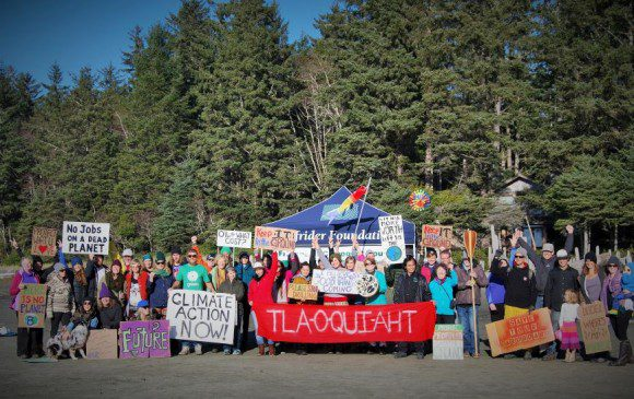 The Clayoquot Sound Global March organized by Friends Of Clayoquot Sound with participants from the Tla-o-qui-aht First Nations, Transition Towns, Surfrider Pacific Rim, and Paddle For The Planet.
